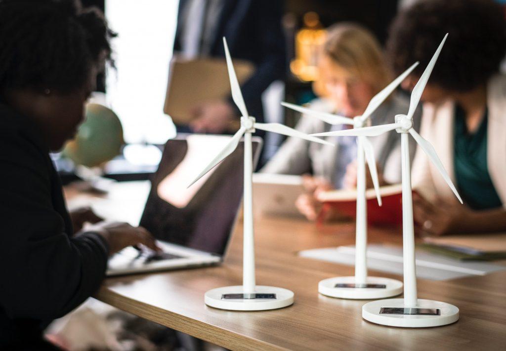 Three White Windmills Figure Table Decors