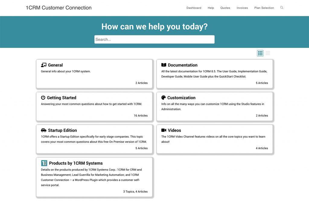 1CRM WordPress Customer Connection Screenshot