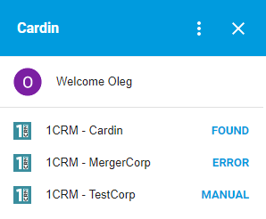 cardin for gmail 1CRM dashboard